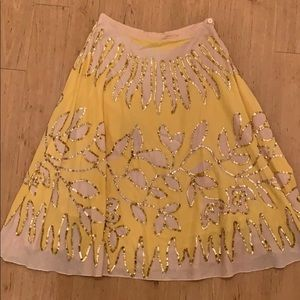 Hand sequined yellow A line skirt